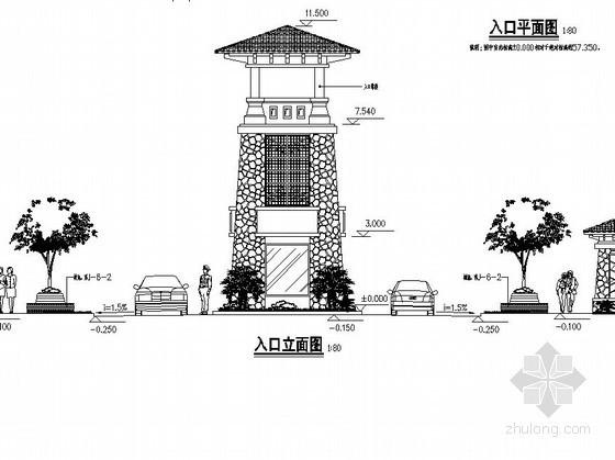 入口造型门卫室施工做法详图