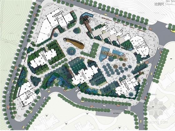 [深圳]临商业街现代花园式居住区景观规划设计方案