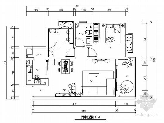 [郑州]80㎡小居室现代设计风格施工图(含效果图)