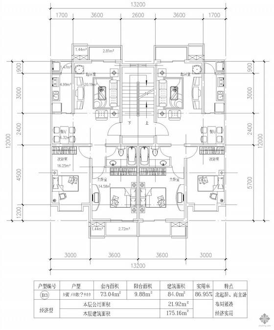 板式多层一梯两户两室两厅一卫户型图(84/84)