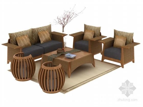 中式沙发家具3D模型下载