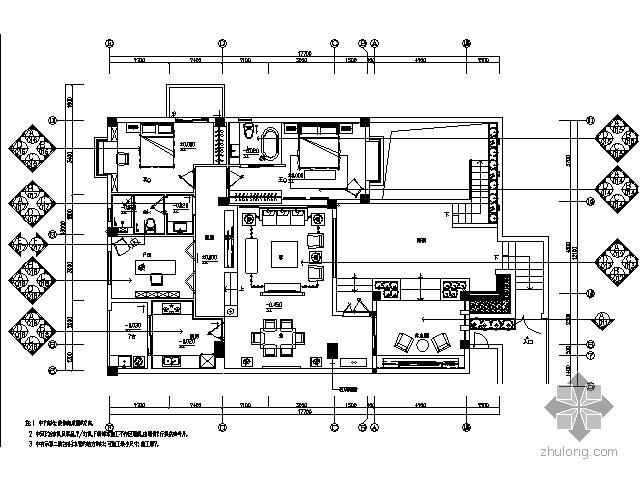 现代中式风格跃层式样板房施工图(含效果)