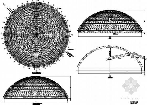 120米直径球壳煤棚网架结构施工图