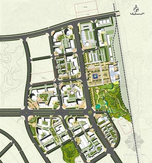 现代风格火车站片区城市设计方案总平面图