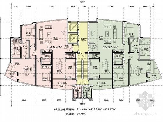 [上海]浦东某住宅小区塔楼户型平面图