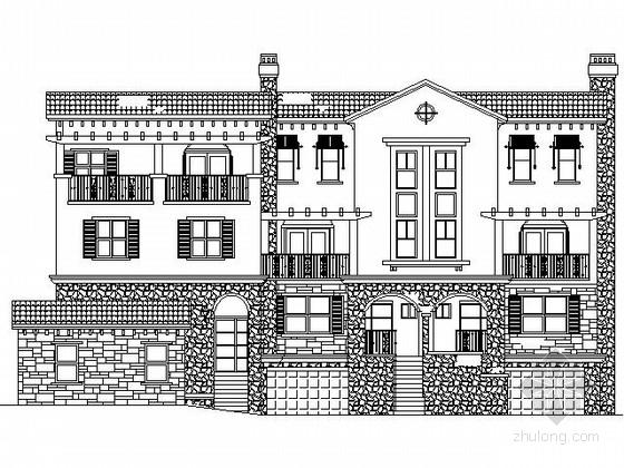 某三层西班牙风格联排别墅建筑施工图