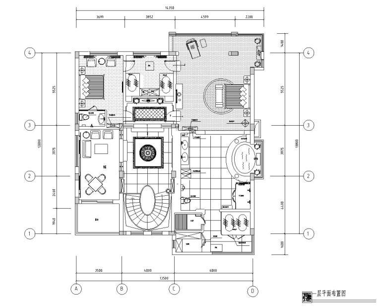 金鸟半岛纯中式风格室内施工图设计(CAD+实景图)