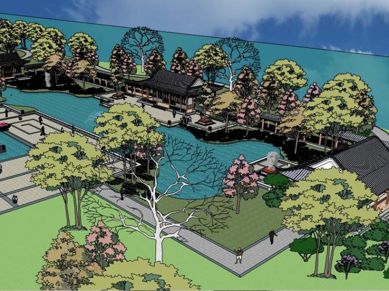 中式公园景观全套精细SU模型(中式景观入口,中式廊亭)