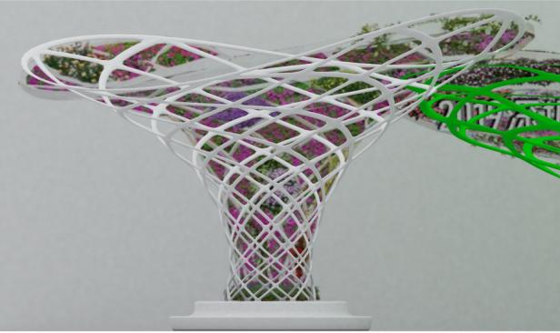 如图,要在这个钢架里面里面放装饰花,求个脚手架搭设的简单方案