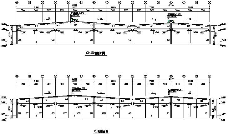 厦门住宅设计的门式刚架钢结构工程施工图(CAD,10张)