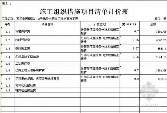 重庆某市政给水工程招标控制价(工程量清单编制)