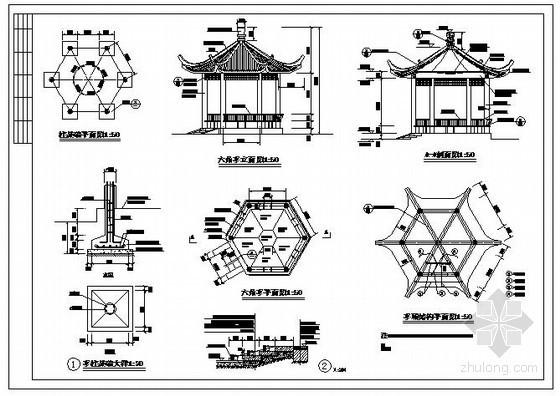 某六角亭节点构造详图