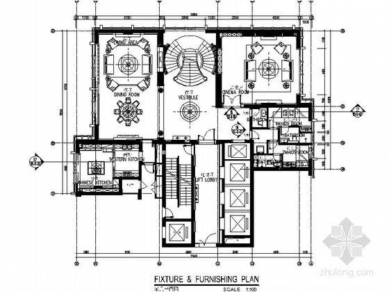 [大连]某三层电梯别墅室内装修图