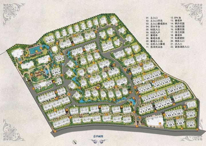 [绍兴]法式园林别墅区景观设计方案-总平面图