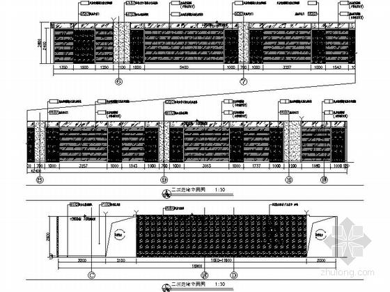 [天津]国际化金融股份制公司现代办公楼装修施工图(含实景及报价表)走廊立面图