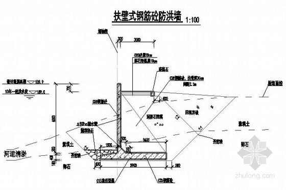 三种材质防洪堤结构断面施工图