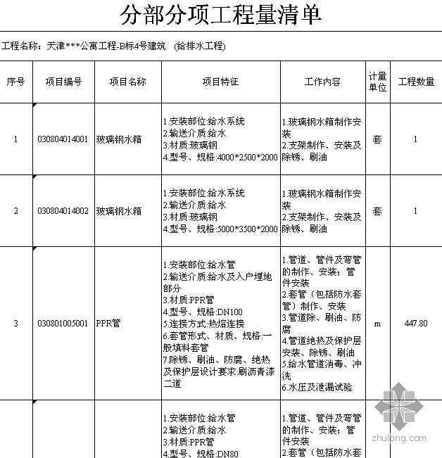 天津某公寓建安工程量清单(2008-4)