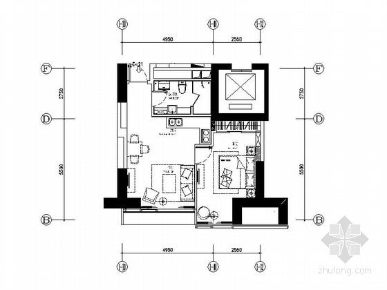 [大连]精品高档公寓一居室装修施工图(含实景)