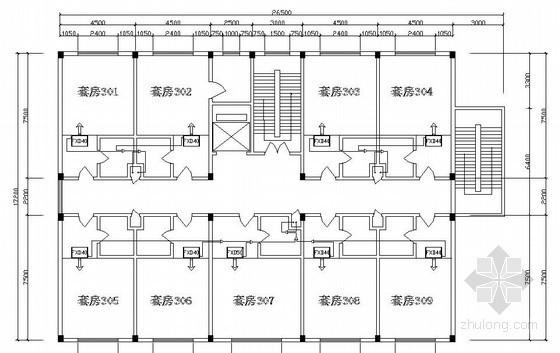 某七层宿舍楼空调平面图