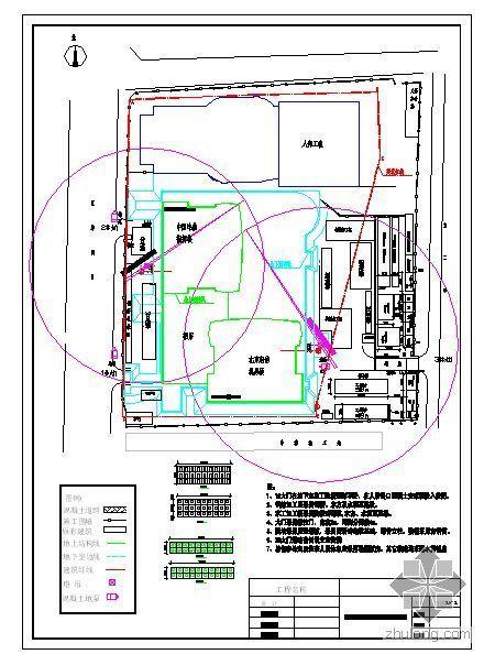 北京某通信指挥楼地下结构现场平面布置图