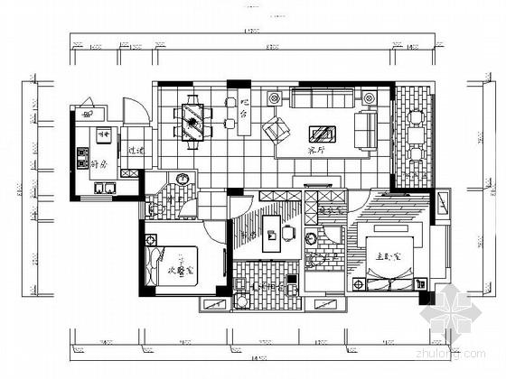 [福建]现代三居室样板房室内设计CAD施工图(含效果)