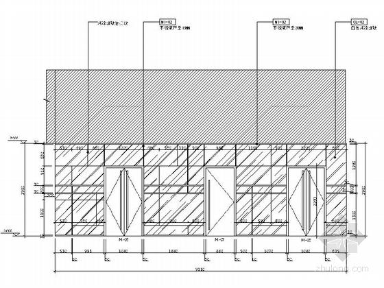 [江苏]国际综合性投资集团塔楼办公楼公共空间设计施工图(含效果)立面图