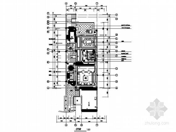 核心地区欧式风情三层别墅样板房装修设计施工图