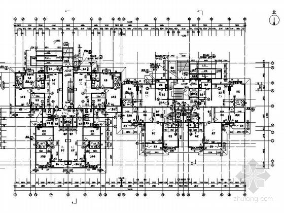 现代风格高层住宅区建筑平面图