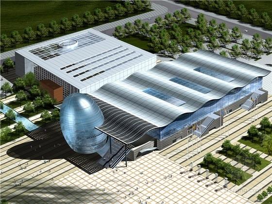 [辽宁]现代风格会展中心扩建工程设计方案文本(含CAD 海洋梦幻色彩)