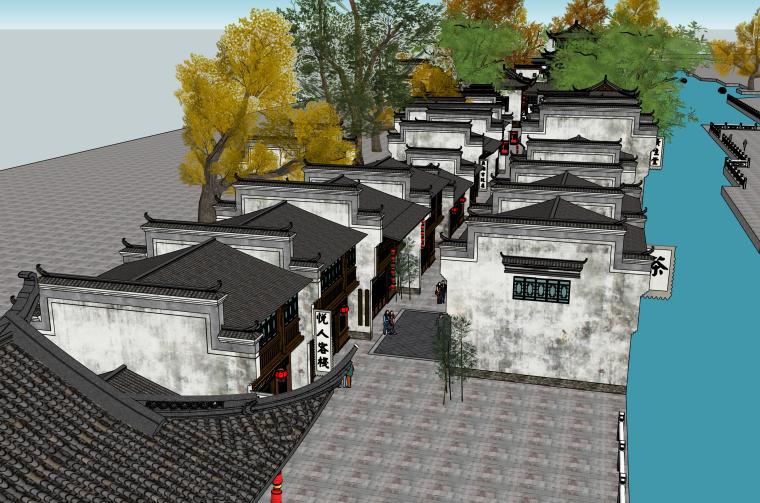 滨水中式古建筑商业步行街建筑SU模型