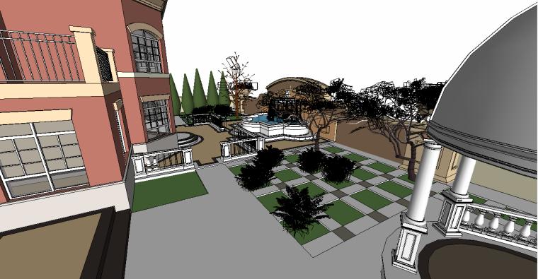 偏欧式庭院3d模型下载