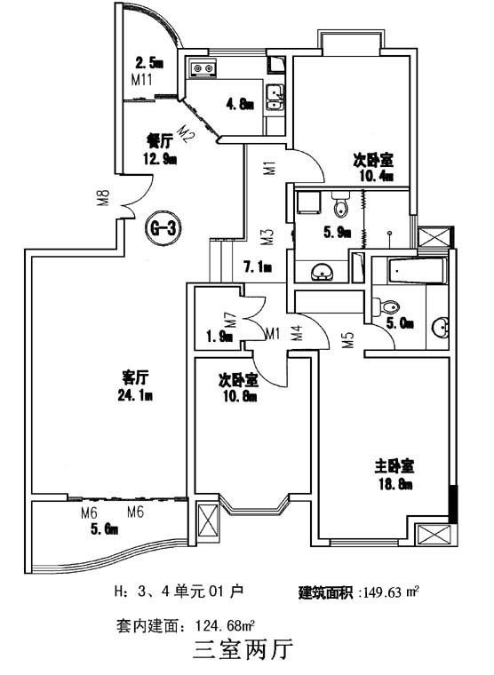 100个住宅经典户型平面图