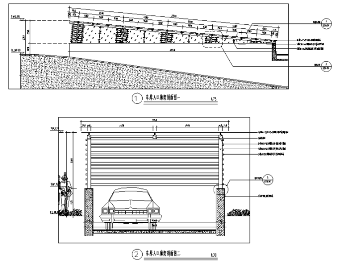 [重庆]生态智能交通物联网RFID工程中心环境景观设计全套施工图(2017最新图纸)-车库入口廊架设计详图