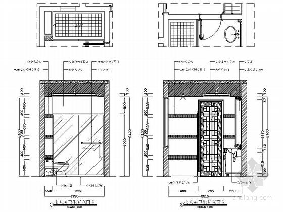 [广州]花园洋房小区欧式风情三居室雅居设计装修图主人房卫生间立面图