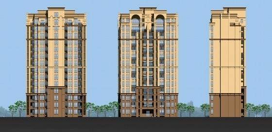 [成都]现代风格高层住宅及联排别墅区规划设计方案文本-现代风格高层住宅及联排别墅区规划立面图