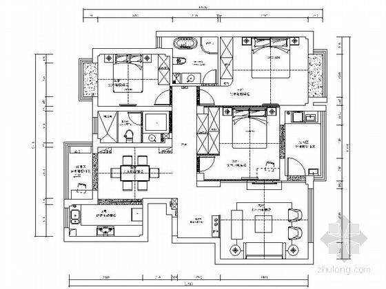 [宁波]134平现代简约三居室样板间装修施工图(含效果)