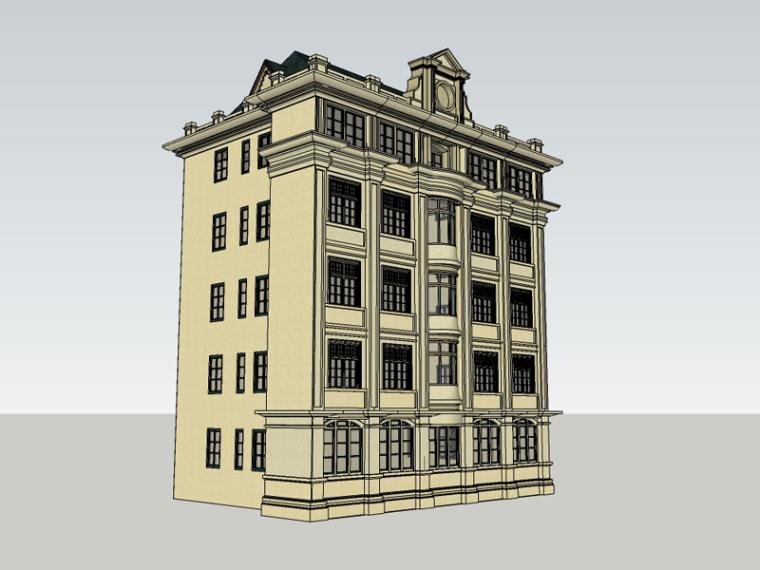 欧式多层建筑SketchUp模型下载