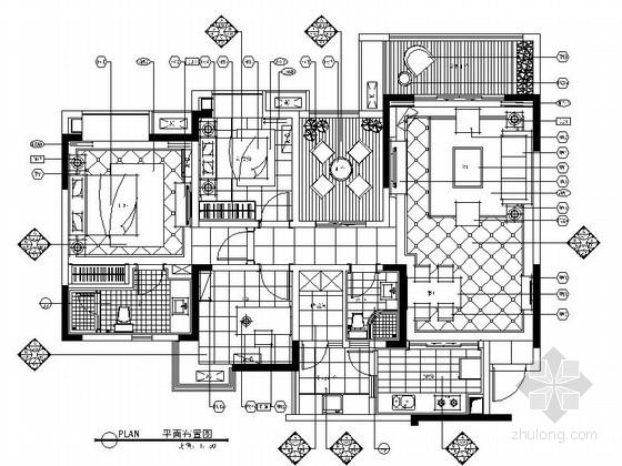 [重庆]地中海风格高层三居室样板间室内施工图(含实景)