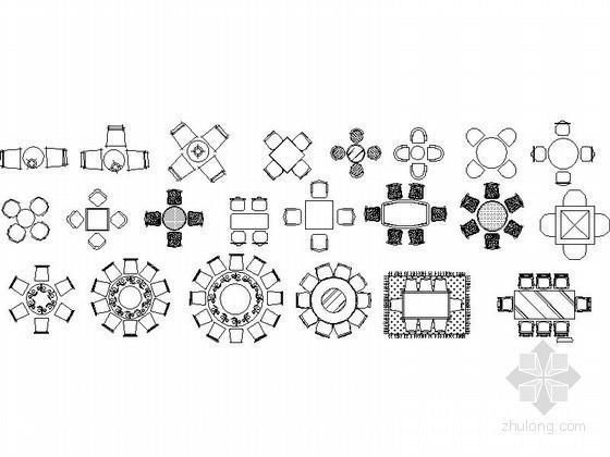 各式会议桌椅及沙发餐桌CAD图块下载