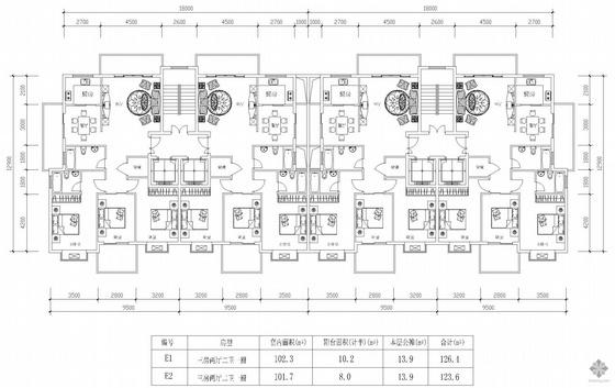 板式高层一梯两户户型图(126/124)