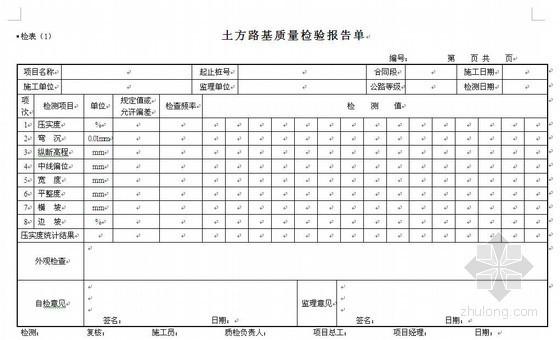 市政工程分项工程质量检验报告单