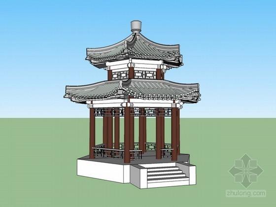 六角重檐古亭sketchup模型下载