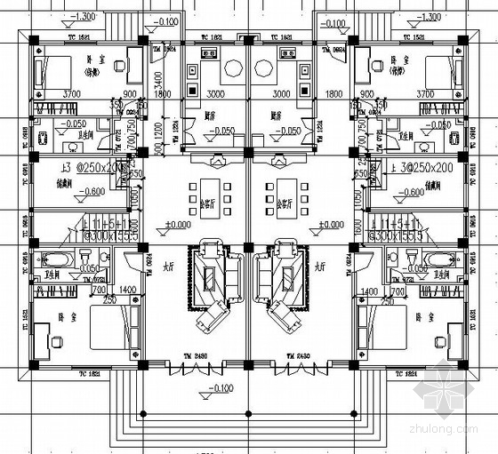 5层框架结构私人住宅施工图(含建筑图)