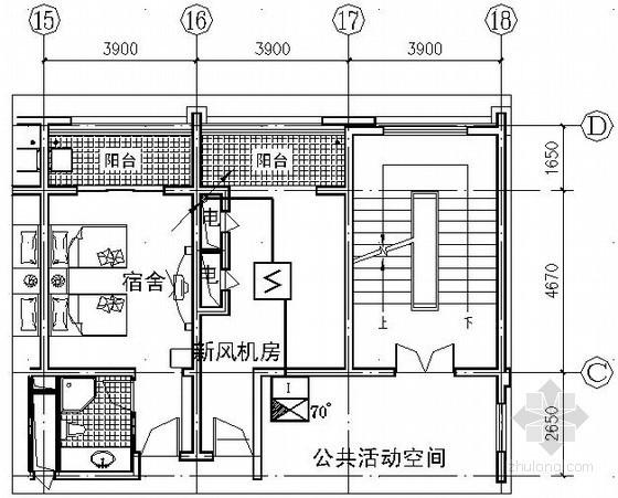 某学校宿舍楼火灾自动报警系统平面布置图