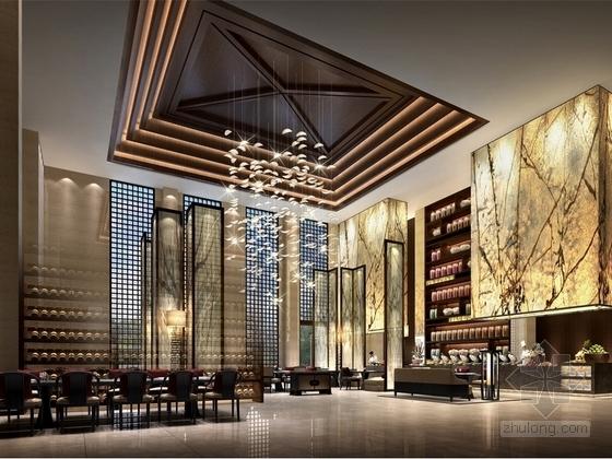 某现代中式五星级酒店餐厅设计方案效果图
