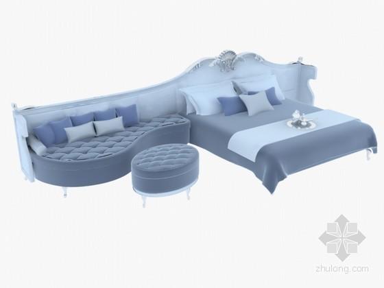 连体沙发床3D模型下载