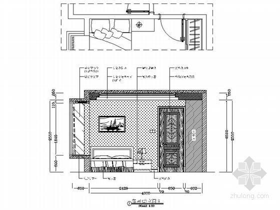 [广州]花园洋房小区欧式风情三居室雅居设计装修图客房立面图