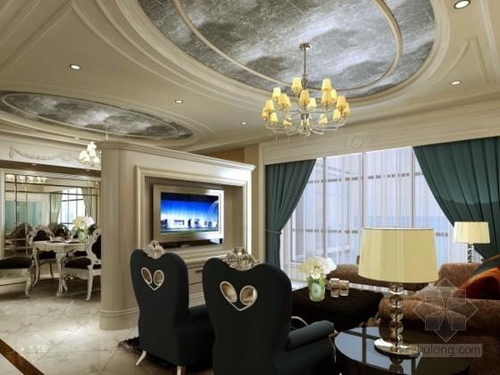 欧式新古典风格客餐厅3d模型下载