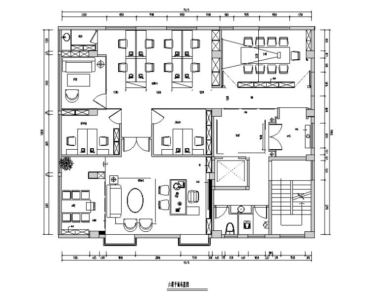 [福建]现代中式390平米典当行办公空间设计施工图(附效果图)