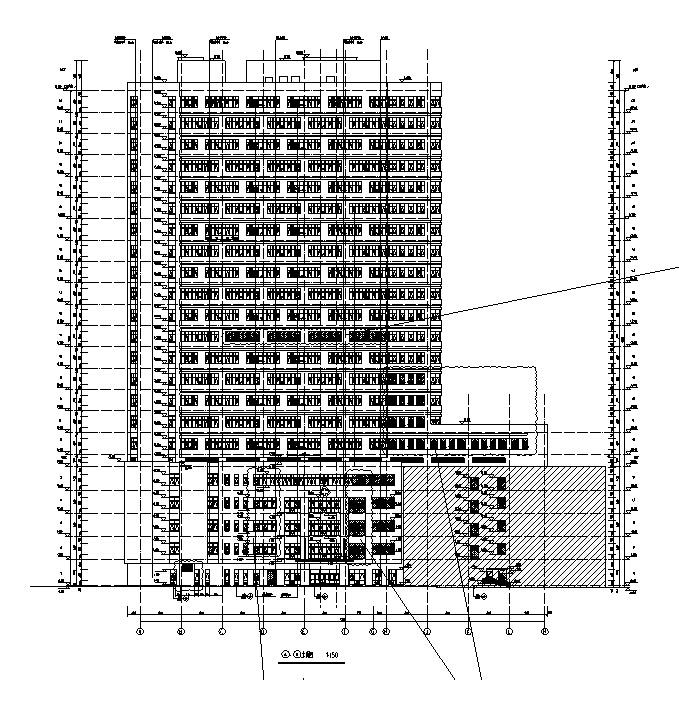 [湖南]高层框架结构市级医院综合楼建筑施工图(16年含水电图纸)